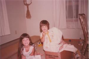 Oldest cousin, me and my sister (squished in the box)